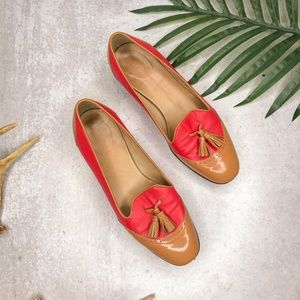 J Crew Toni Tassle Smoking Loafer in Coral Leather